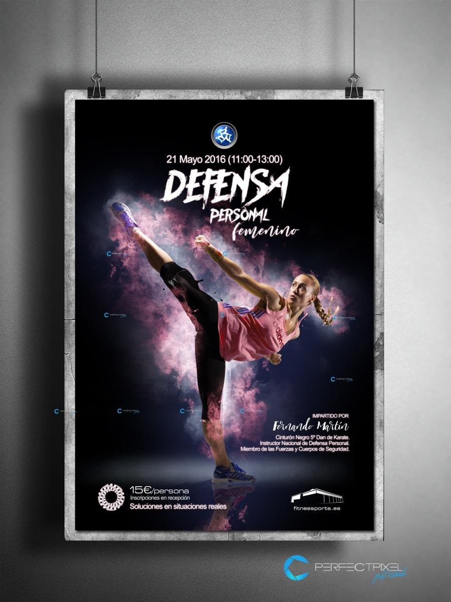 Cartel publicitario para curso defensa personal en Madrid