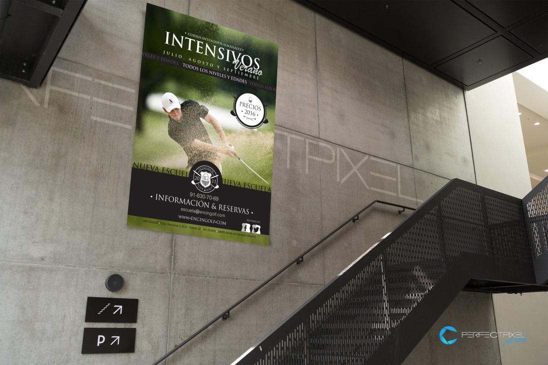 Cartel publicitario cursos intensivos de golf en Madrid - Encín Golf Hotel