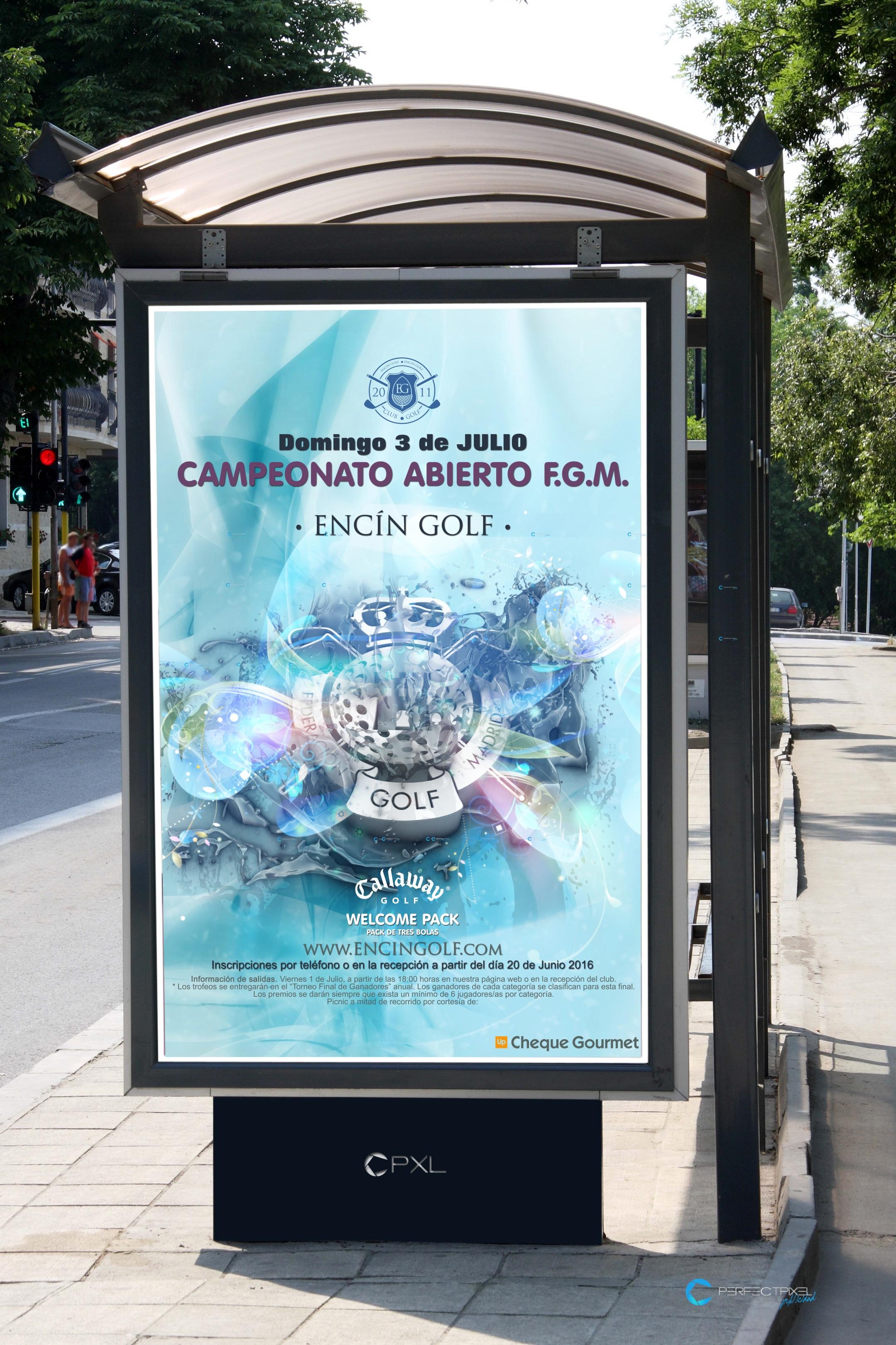Cartel publicitario campeonato de golf en Madrid - F.G.M. Encín Golf Hotel