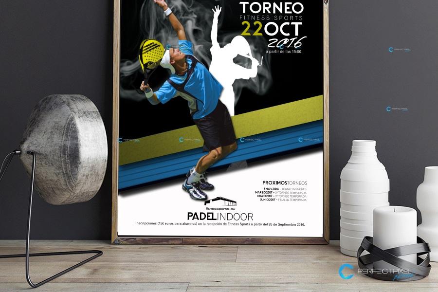 Cartel publicitario para campeonato de pádel en Madrid