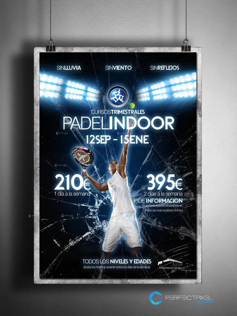 Cartel publicitario para escuela de Pádel