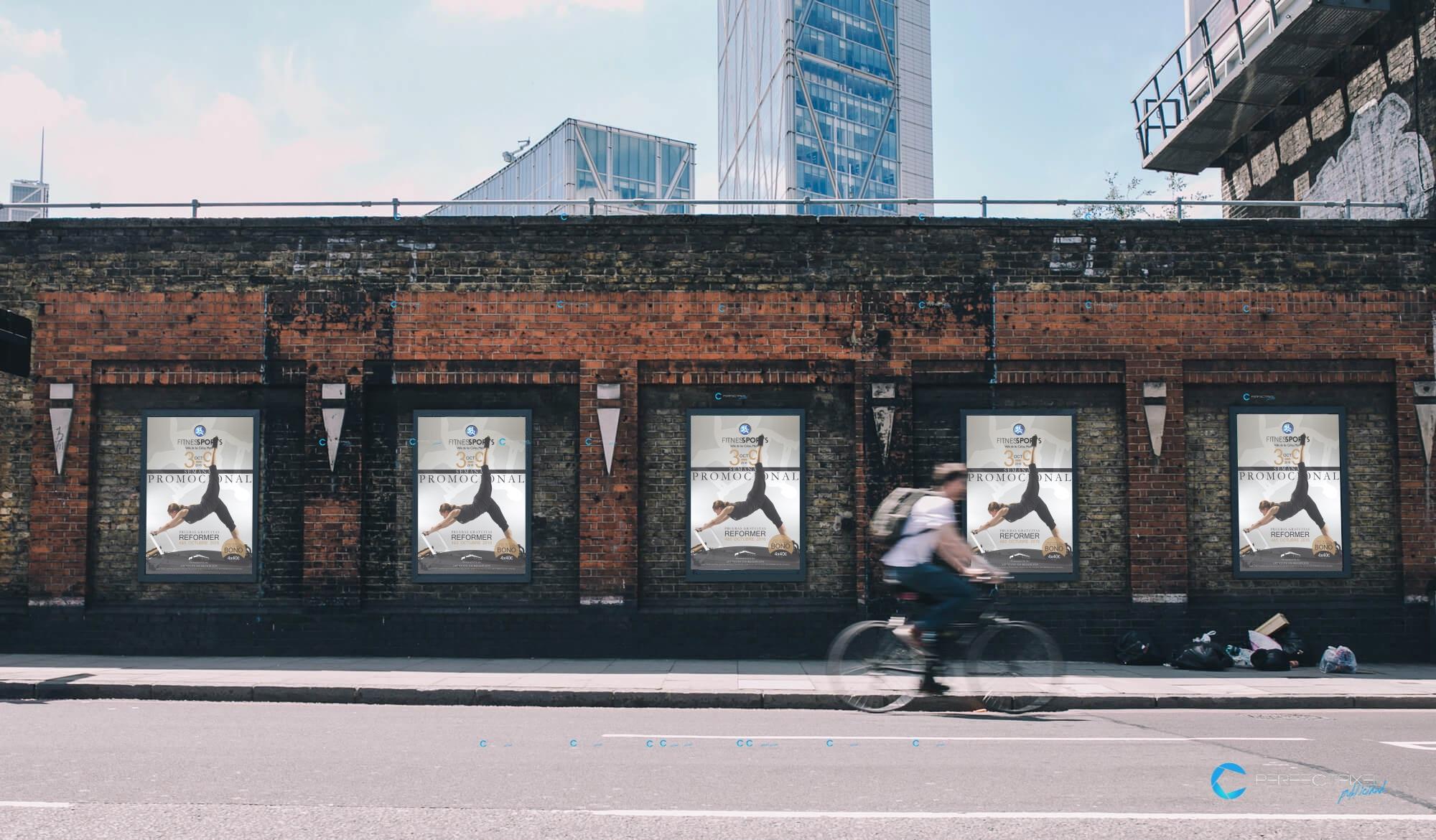 Cartel publicitario para escuela de pilates reformer