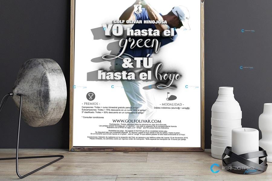 Cartel publicitario para club de golf Olivar de la Hinojosa