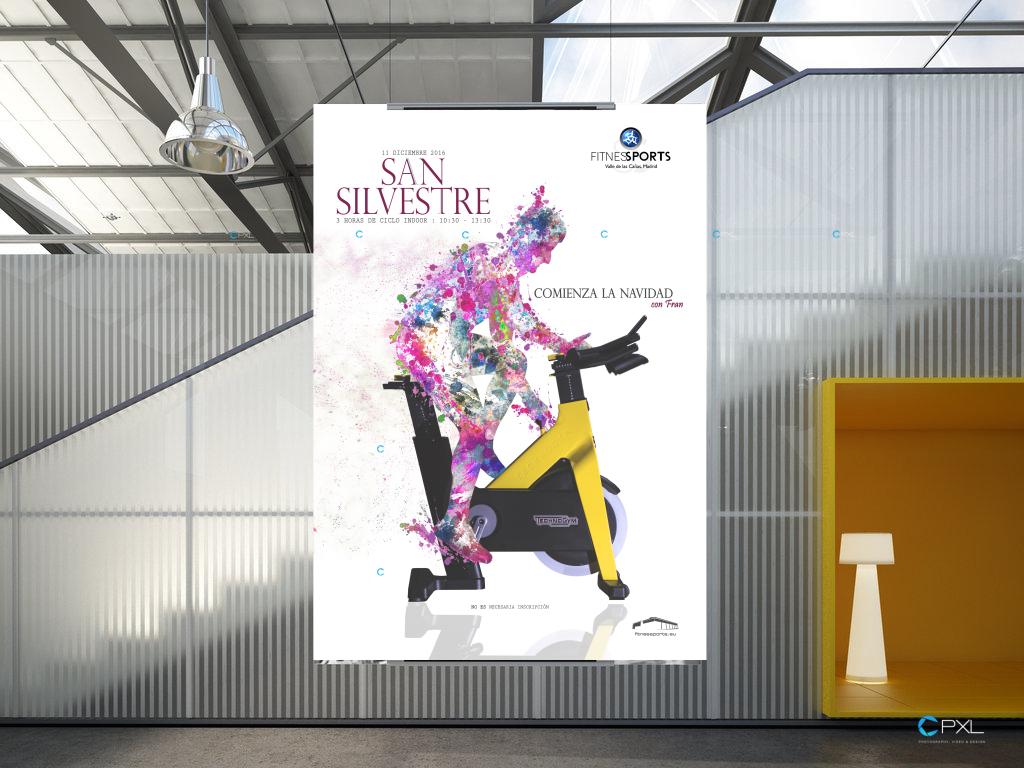 Cartel publicitario para evento - San Silvestre 2016