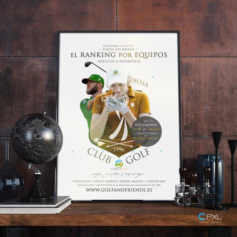 Cartel publicitario para GolfOlivar&Friends club de golf Olivar de la Hinojosa