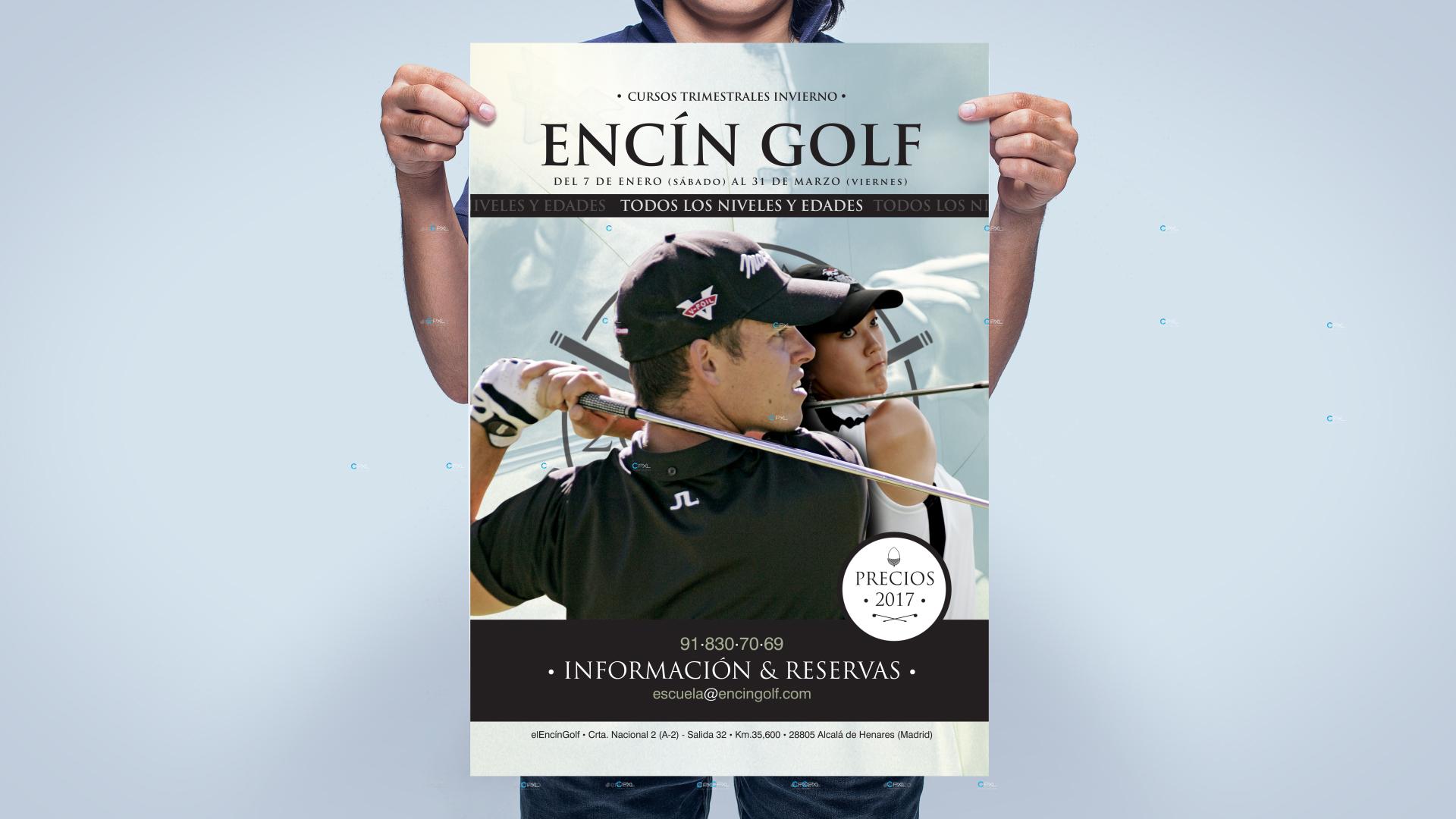 Diseño dípticos para escuela de golf (Encín Golf Hotel)