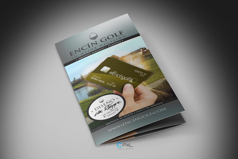 Diseño trípticos para escuela de golf (Abonos - Encín Golf Hotel)