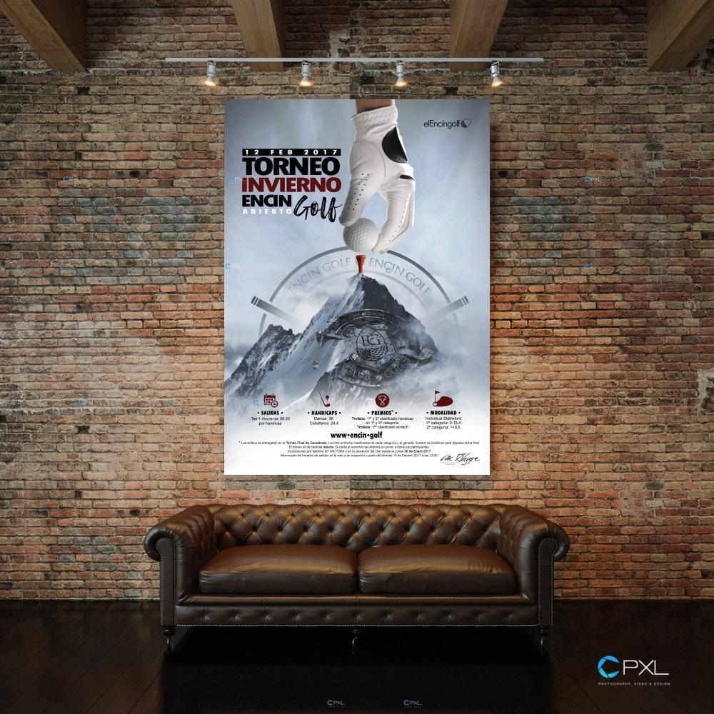 Cartel publicitario torneo de golf - Encín Golf Abierto de invierno