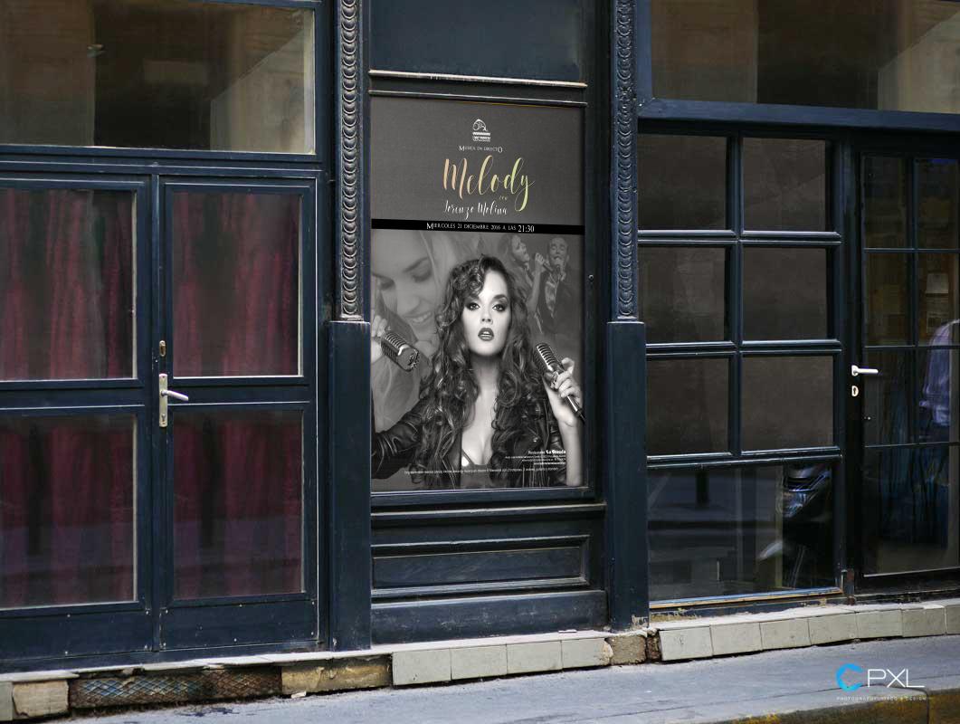 Cartel publicitario concierto de Melody y Lorenzo Molina en La Dorada