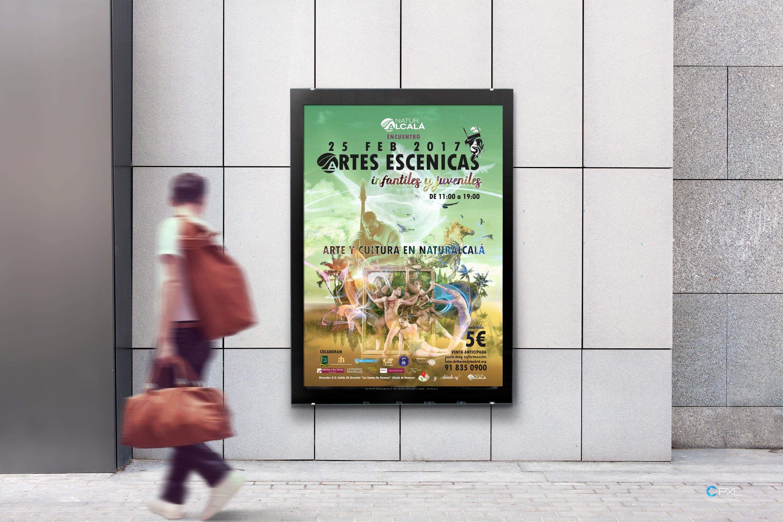 Cartel publicitario para encuentro de artes escénicas en Madrid - Naturalcalá