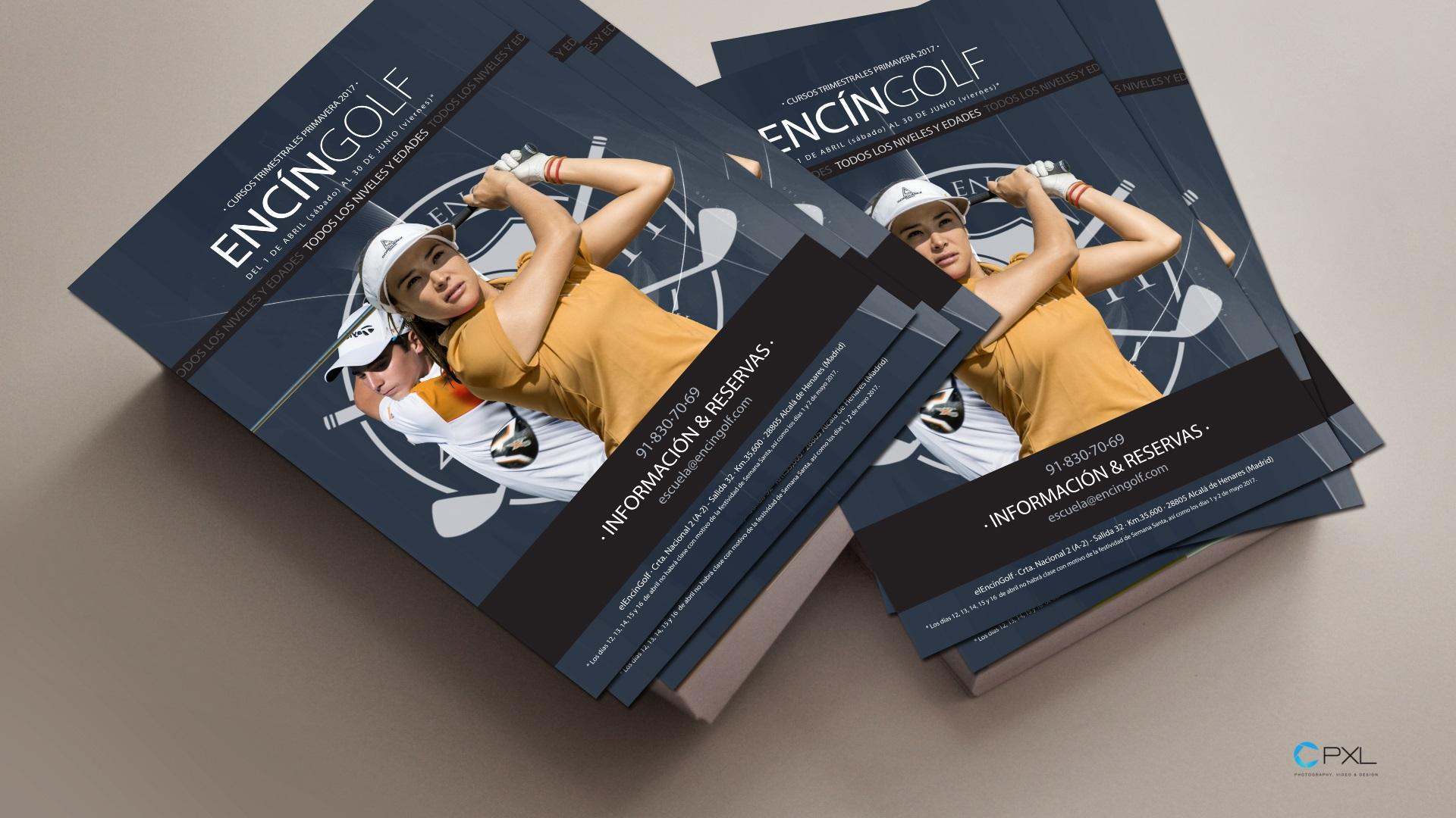 Diseño dípticos para cursos trimestrales escuela de golf (Encín Golf Hotel)
