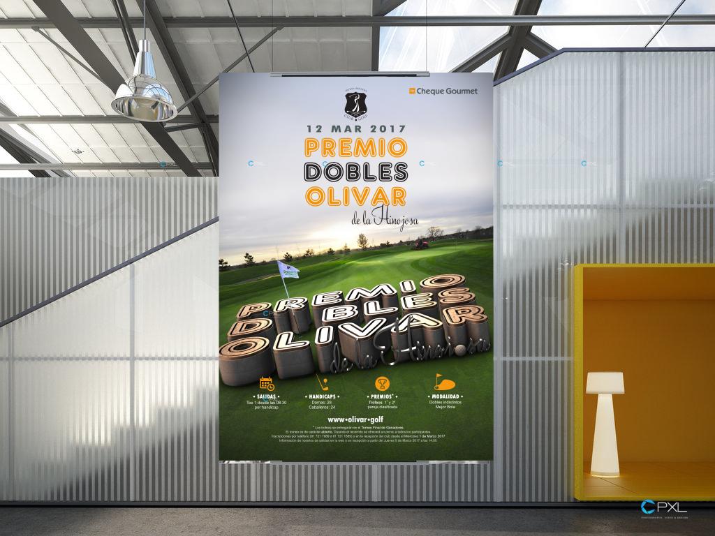 Cartel publicitario torneo de golf - Olivar de la Hinojosa Abierto de verano