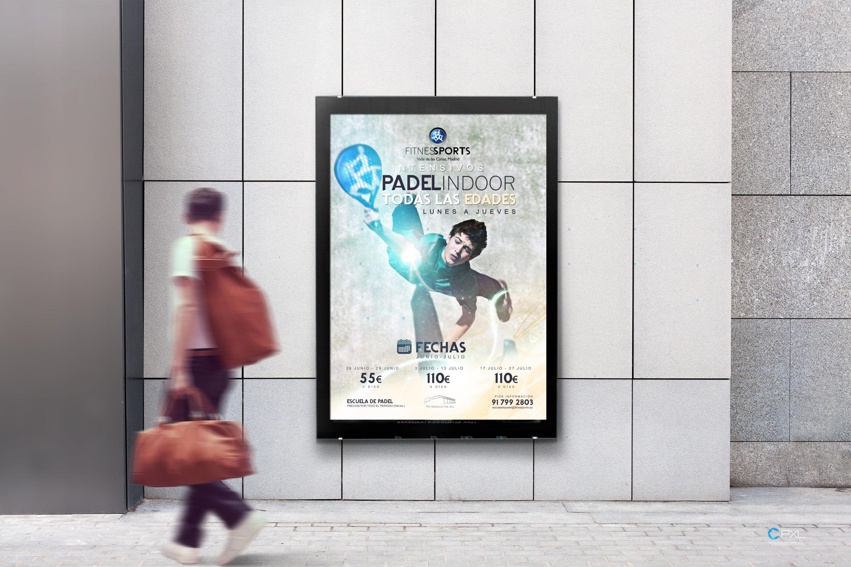 Cartel publicitario para escuela de pádel en Madrid (Fitness Sports Valle de las Cañas)