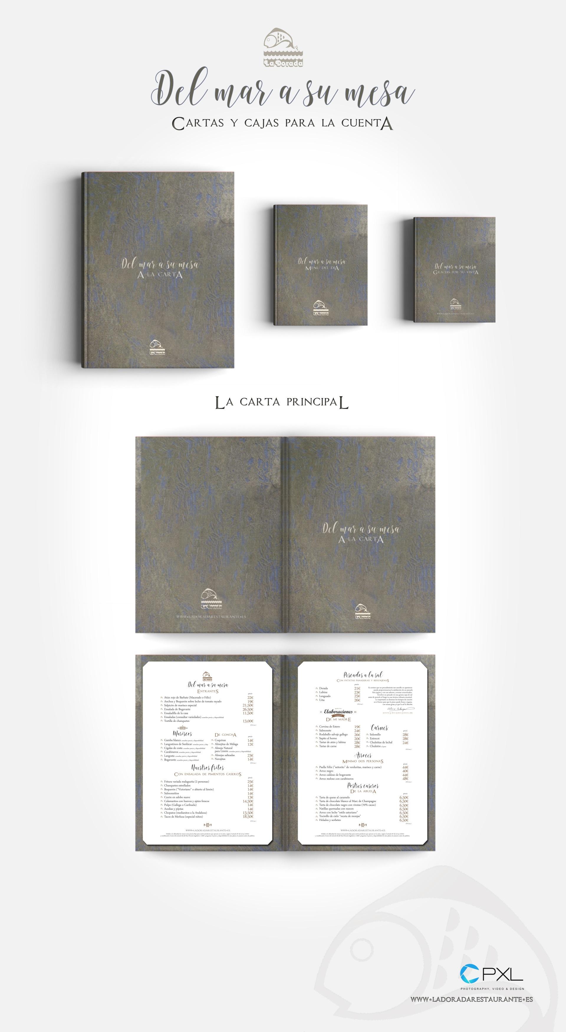 Diseño cartas para el restaurante La Dorada Orense Felix Cabeza