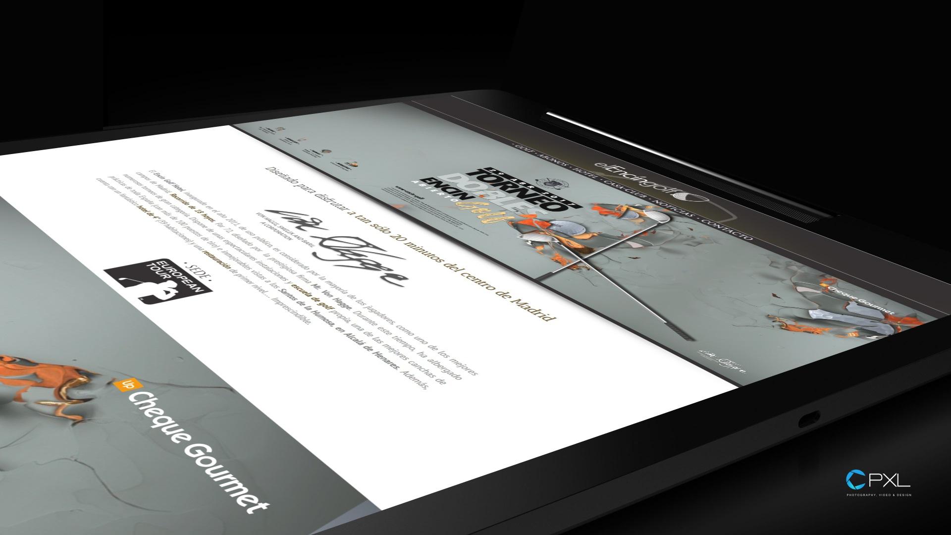 Diseño cartelería para torneo de golf - Encín Golf Hotel (Cheques Gourmet)