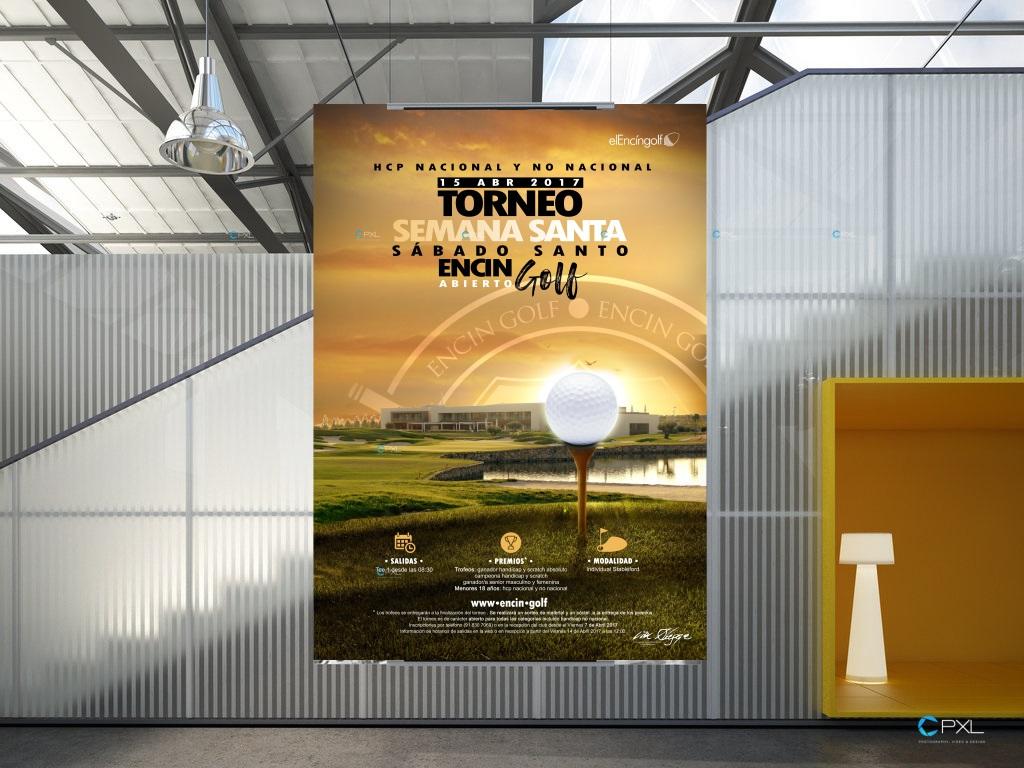 Cartel publicitario torneo de golf - Encín Golf abierto semana santa