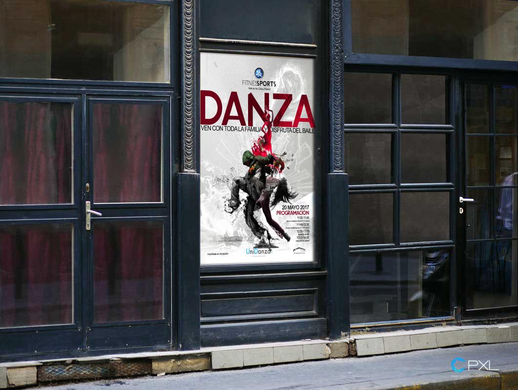 Cartel publicitario para escuela de baile profesional - Unidanza (Fitness Sports Valle de las Cañas)