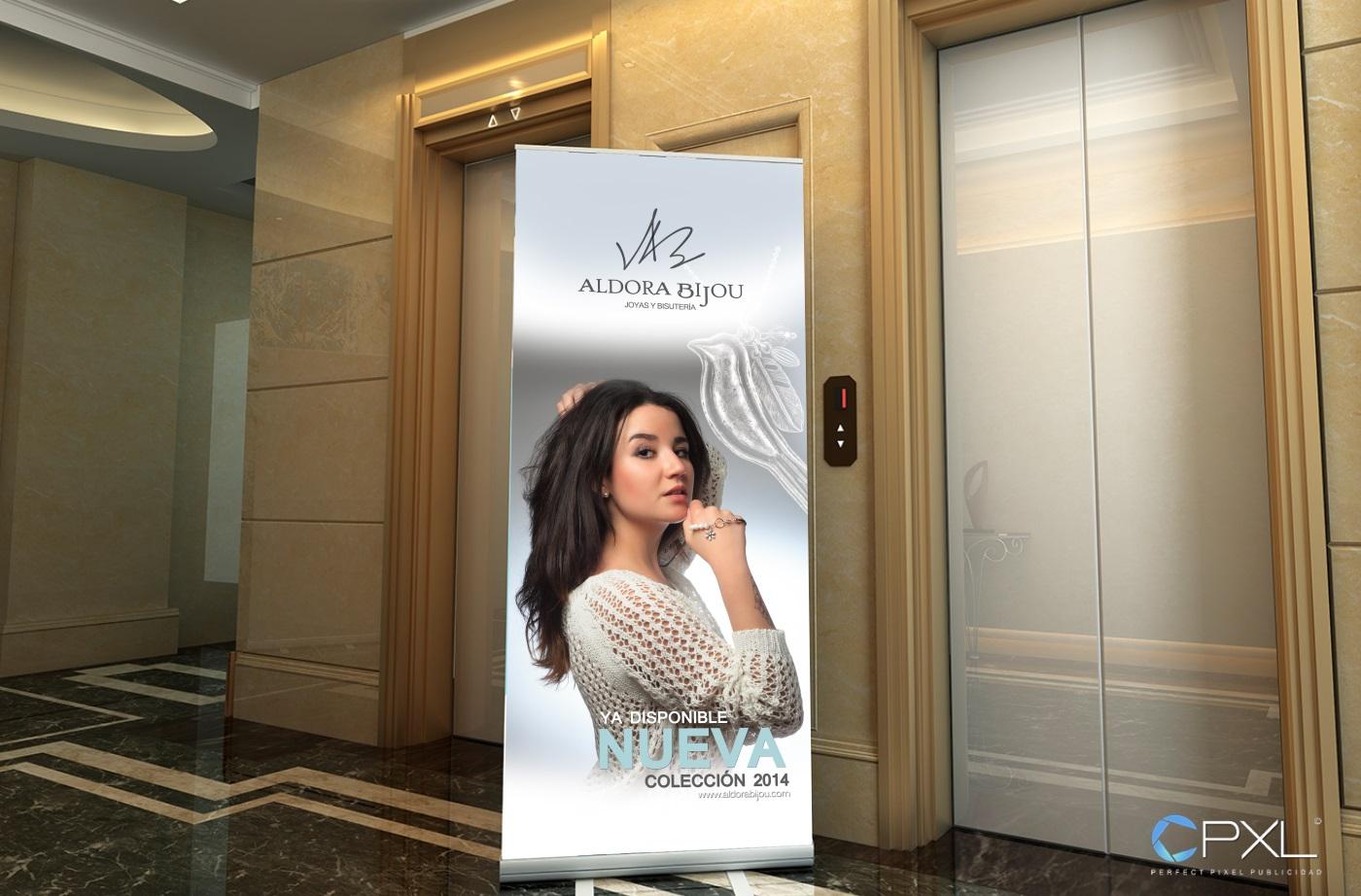 Diseño de roll up y fotografía de anuncio para marca de joyas - Aldora Bijou