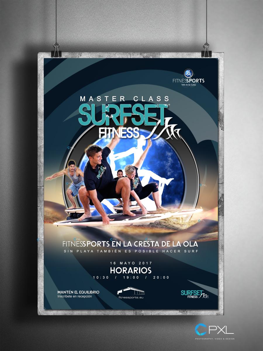 Cartel publicitario para actividad deportiva (Surfset - Fitness Sports Valle de las Cañas)