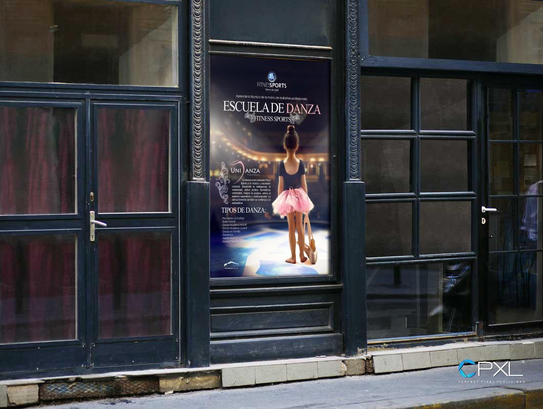 Cartel publicitario para escuela de baile profesional UNIDANZA (Fitness Sports Valle de las Cañas)