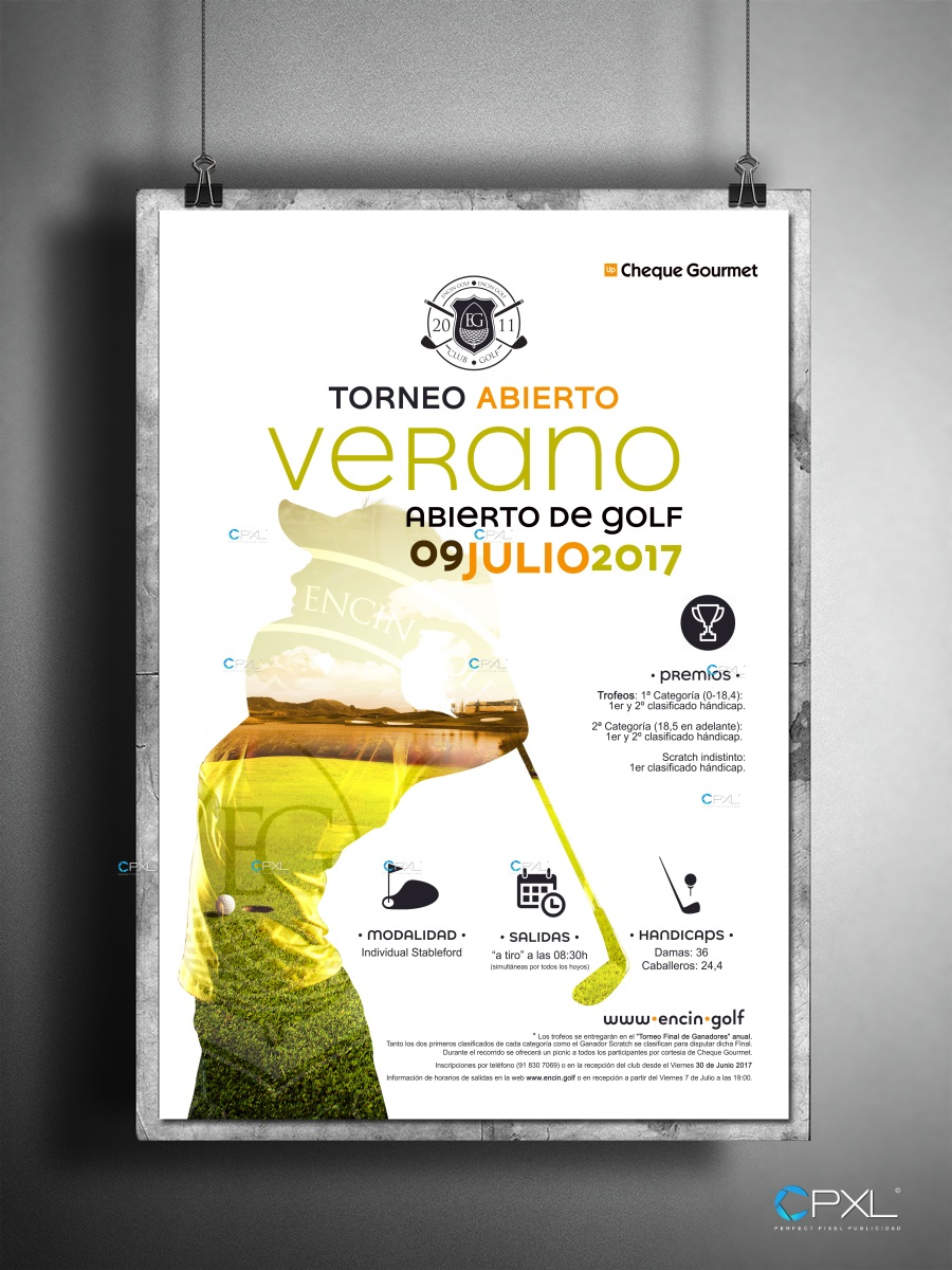 Cartelería profesional para torneo de golf en Madrid (Cheques Gourmet)