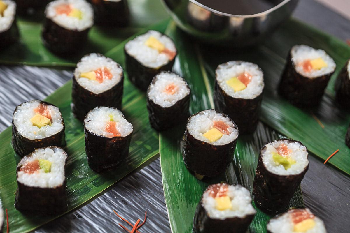 Sesión de fotografía puntos de degustación de comida asiática