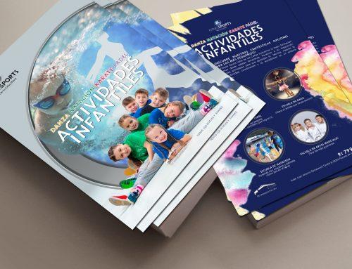 Diseño Flyers campaña actividades infantiles en club deportivo en Madrid