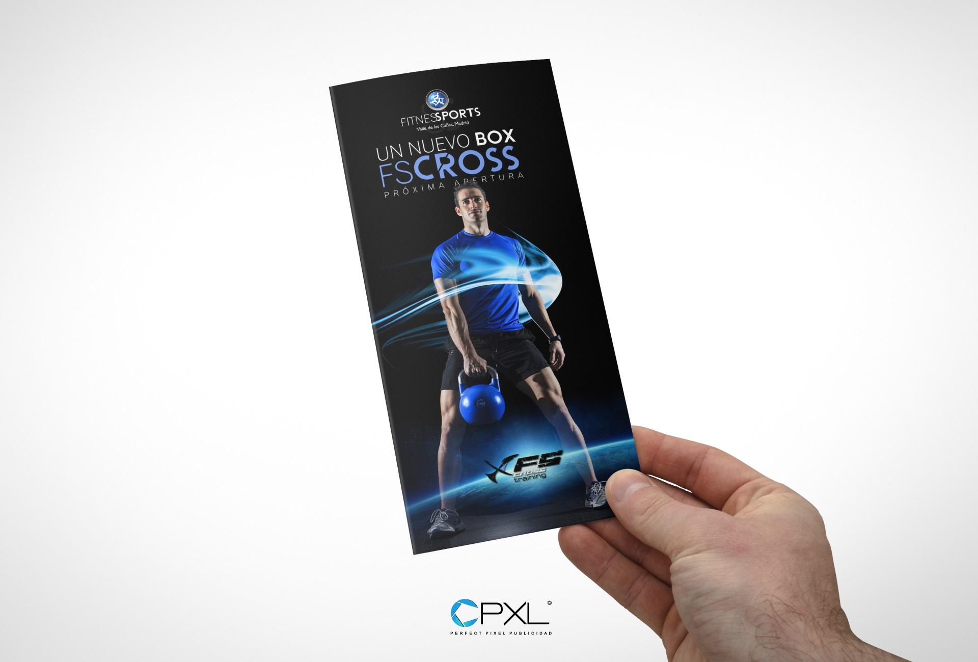 Diseño trípticos para nuevo BOX de FS Cross en Madrid (Fitness Sports Valle de las Cañas)