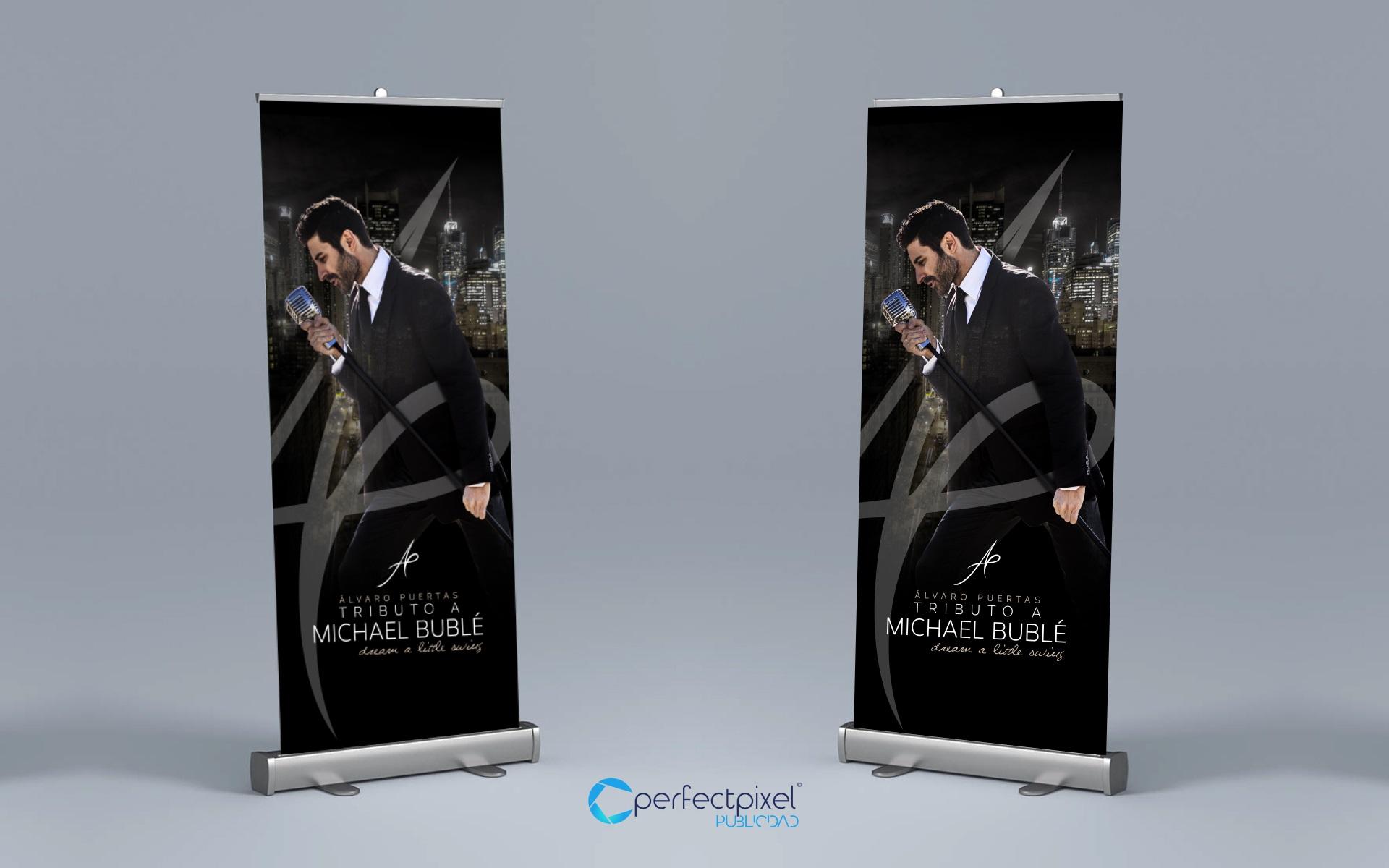 Diseño de roll up para concierto en Madrid (Álvaro Puertas - tributo a Michael Bublé)