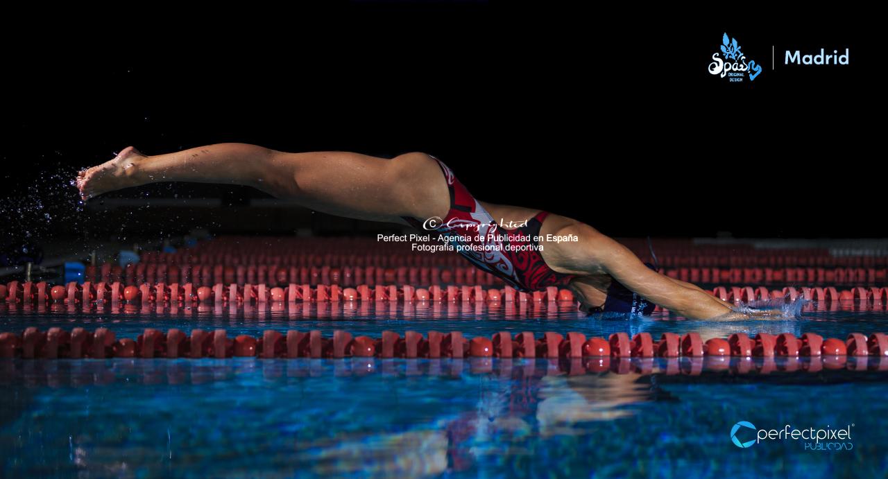 Cartelería profesional para competición de natación en Madrid