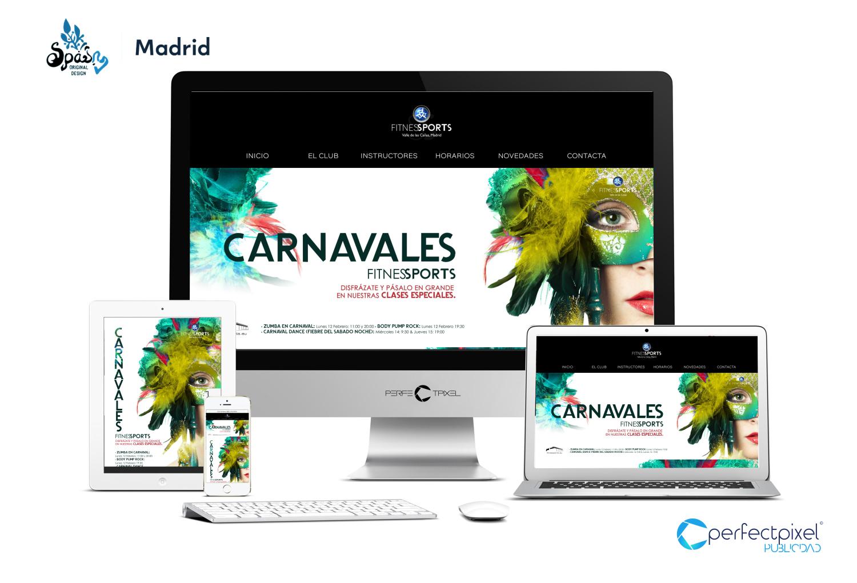 Cartelería profesional para Carnavales en Madrid (Fitness Sports Valle de las Cañas)