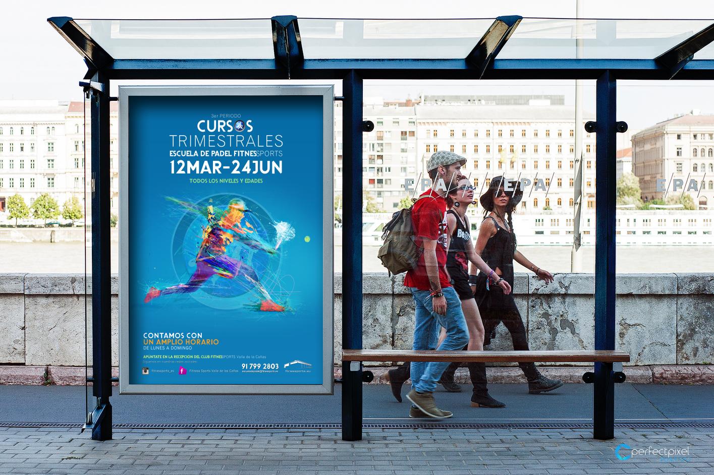 Cartelería profesional para escuela de pádel en Madrid (Fitness Sports Valle de las Cañas)