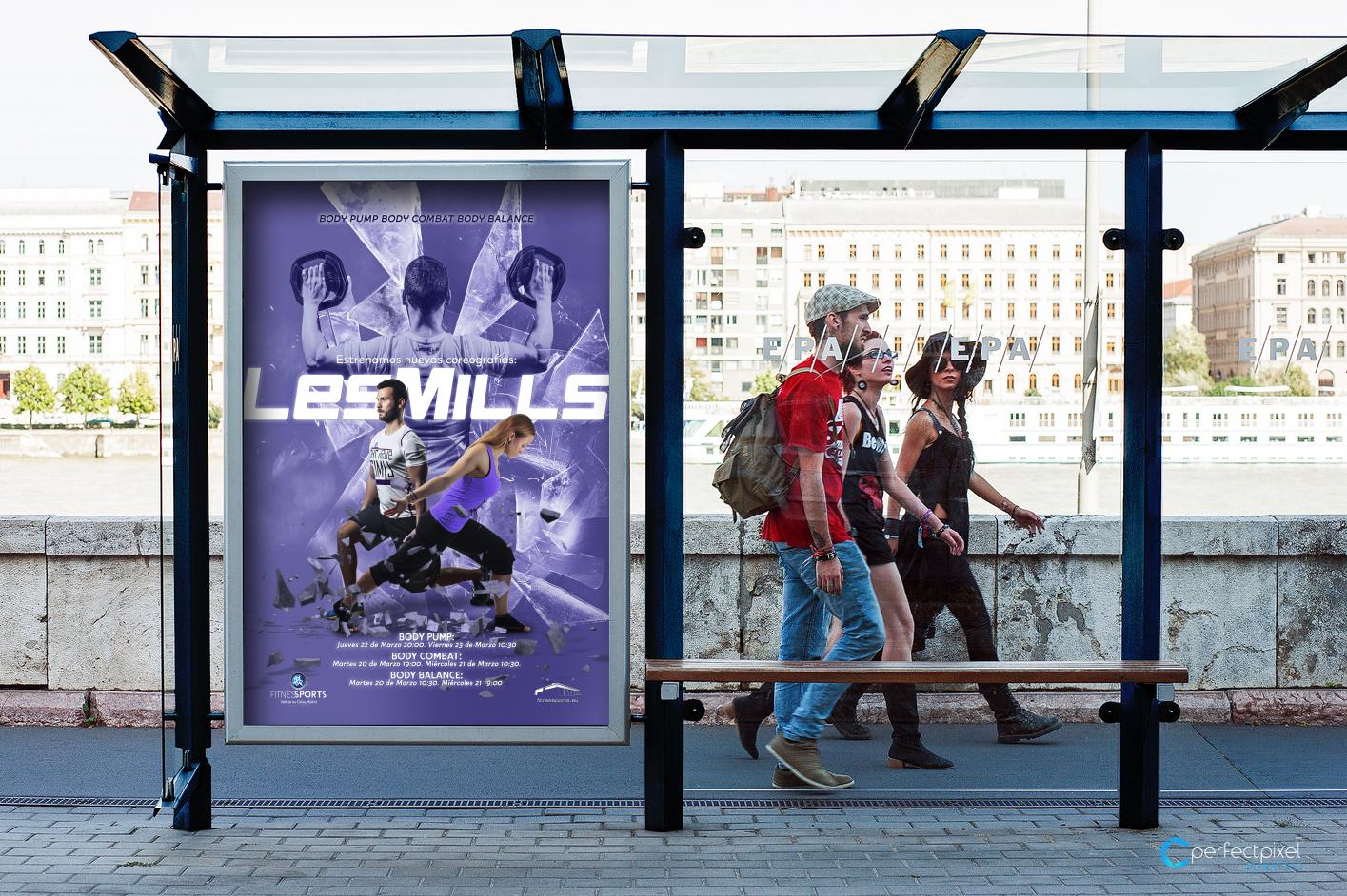 Cartelería profesional para presentaciones Les Mills en Madrid