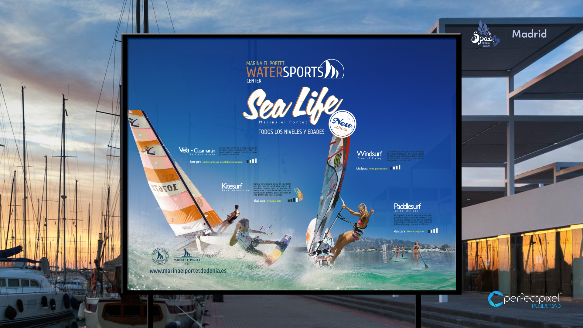 Campaña para escuela de deportes náuticos en Dénia (Marina el Portet)